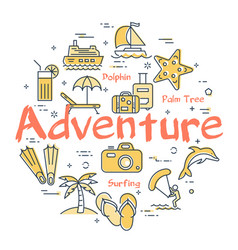 colorful icons in summer adventure theme vector image