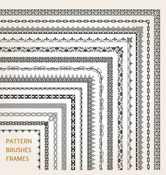 corner border frame line pattern brushes 1 vector image