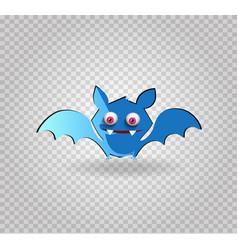 cute funny blue cartoon bat on transparent vector image