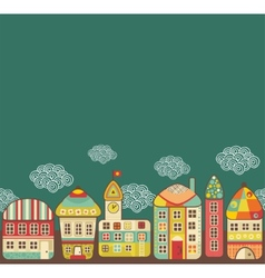 Cute houses seamless pattern vector image