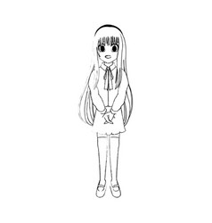Cute young girl anime or manga icon image vector