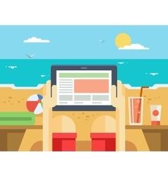 Digital tablet on beach vector image