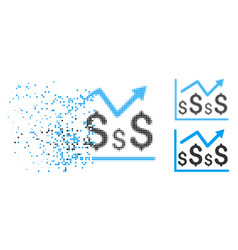 Disintegrating pixelated halftone financial graph vector