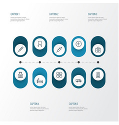 Drug outline icons set collection of nurse vector