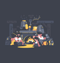 Friends sitting fireplace vector