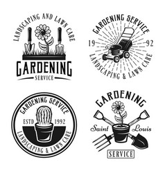 Gardening service emblems badges labels vector