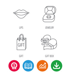 Gift box lips kiss and wedding jewelry icons vector