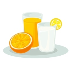 Glass milk and orange juice vector