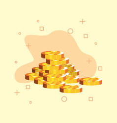 gold coins stacked money vector image