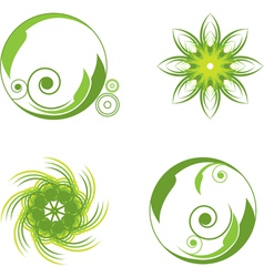 green abstract symbols vector image vector image