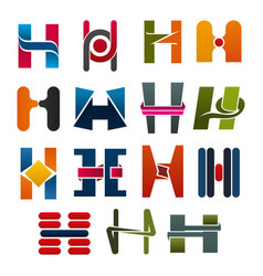 H letter icons template company brand name vector