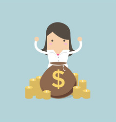 happy businesswoman stand behind money bag vector image
