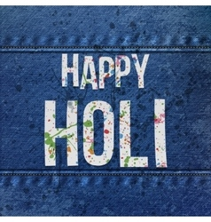 Happy Holi paper Text with color Stains vector image
