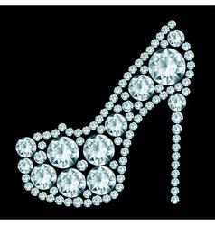 High heels shoe made of diamonds vector image