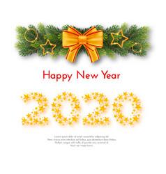 holiday new year 2020 gift card vector image