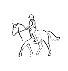 Horse and rider on horseback logo continuous one vector