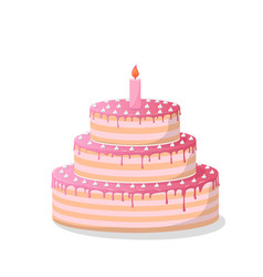 Ill a pink birthday cake on white vector