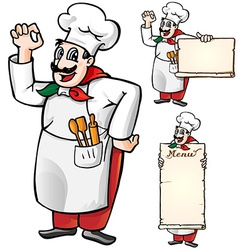 Italian chef set isolated vector
