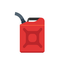 Jerry can red canister diesel handle flat cap jug vector