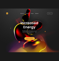 Landing page template with a liquid futuristic vector