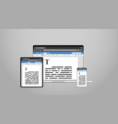 laptop tablet and smartphone screns cross platform vector image