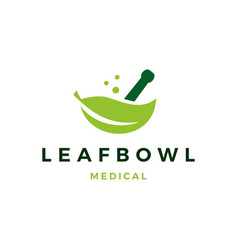 leaf medical bowl mortar logo icon vector image