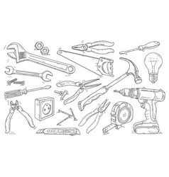 Line drawing icons different tools vector