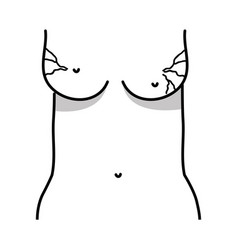 Line mother breast cancer sickness and treatment vector