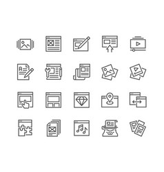 Line web content icons vector