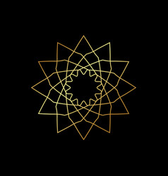 linear geometric ornament on black background vector image