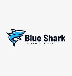 logo blue shark simple mascot style vector image