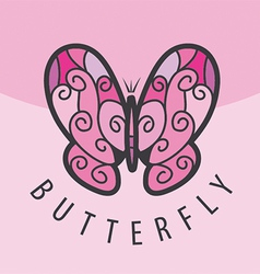 Logo pink butterfly on the background vector