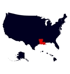 Louisiana State in the United States map vector