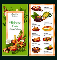 Malaysian cuisine menu traditional asian food vector