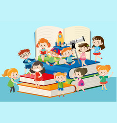many kids sitting on big books vector image