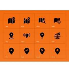 Map icons on orange background vector