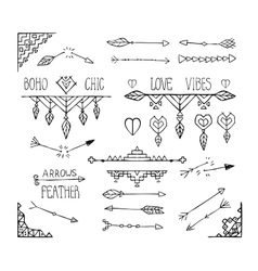 Monochrome hand drawn boho tribal elements vector