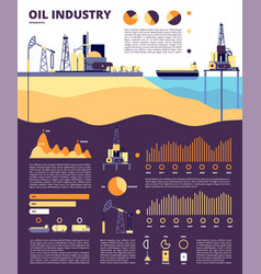 Oil industry gas infographics flat technology vector
