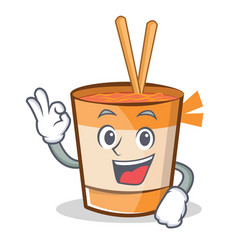 Okay cup noodles character cartoon vector