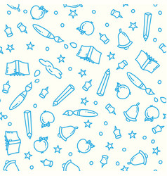 Pattern of back to school with thin line icons vector