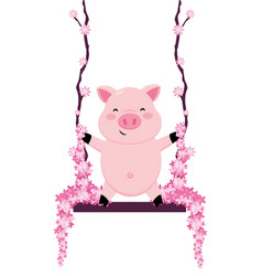 Pig in a swing vector