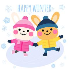 rabbits ice skating cartoon happy winter card vector image