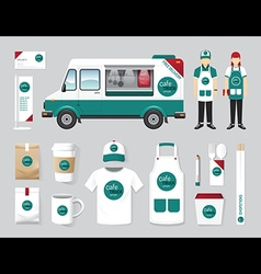 Restaurant cafe design set street food truck shop vector
