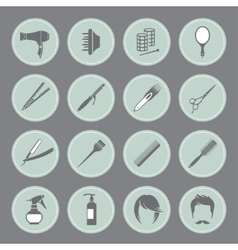Round hairdressing equipment icons vector