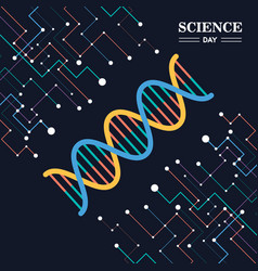 Science day greeting card of dna strand vector