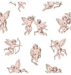 seamless pattern cupids holding bows and shooting vector image