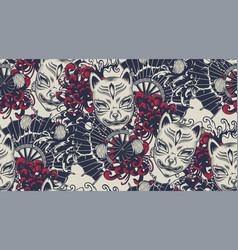 seamless pattern with a kitsune mask on the vector image