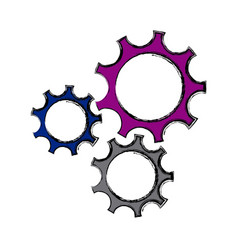 Set gear union cooperation business work concept vector