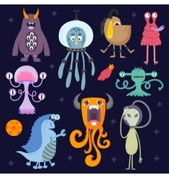 Set of different cute funny cartoon monsters vector image