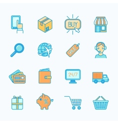 Shopping e-commerce icons set flat line vector image